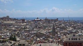 Εναέρια άποψη της παλαιάς πόλης Γένοβα Ορίζοντας Γένοβας, Ιταλία απόθεμα βίντεο