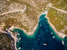 Εναέρια άποψη της παραλίας του Πόρτο Vromi στο νησί της Ζάκυνθου Zante, ι Στοκ Εικόνες