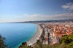 Εναέρια άποψη της παραλίας και του περιπάτου της Νίκαιας μια Γαλλία Στοκ φωτογραφίες με δικαίωμα ελεύθερης χρήσης