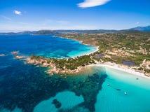 Εναέρια άποψη της παραλίας Palombaggia στο νησί της Κορσικής στη Γαλλία Στοκ Εικόνα