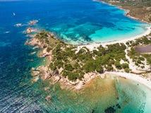 Εναέρια άποψη της παραλίας Palombaggia στο νησί της Κορσικής στη Γαλλία Στοκ φωτογραφίες με δικαίωμα ελεύθερης χρήσης