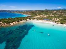 Εναέρια άποψη της παραλίας Palombaggia στο νησί της Κορσικής στη Γαλλία Στοκ εικόνα με δικαίωμα ελεύθερης χρήσης