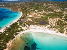 Εναέρια άποψη της παραλίας Palombaggia στο νησί της Κορσικής στη Γαλλία Στοκ φωτογραφία με δικαίωμα ελεύθερης χρήσης