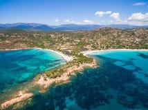 Εναέρια άποψη της παραλίας Palombaggia στο νησί της Κορσικής στη Γαλλία Στοκ εικόνες με δικαίωμα ελεύθερης χρήσης