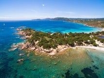Εναέρια άποψη της παραλίας Palombaggia στο νησί της Κορσικής στη Γαλλία Στοκ Εικόνες