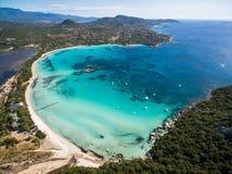 Εναέρια άποψη της παραλίας Santa Giulia στο νησί της Κορσικής στη Γαλλία Στοκ φωτογραφία με δικαίωμα ελεύθερης χρήσης