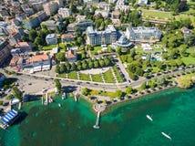 Εναέρια άποψη της προκυμαίας Ouchy στη Λωζάνη, Ελβετία Στοκ Φωτογραφία