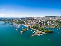 Εναέρια άποψη της προκυμαίας Ouchy στη Λωζάνη, Ελβετία Στοκ Εικόνα