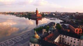 Εναέρια άποψη της πόλης της Στοκχόλμης απόθεμα βίντεο
