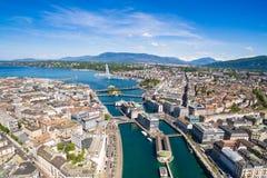 Εναέρια άποψη της πόλης της Γενεύης λιμνών Leman στην Ελβετία Στοκ Εικόνα