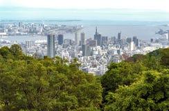Εναέρια άποψη της πόλης του Kobe και του νησιού λιμένων του Kobe από το υποστήριγμα Rokk Στοκ Φωτογραφίες