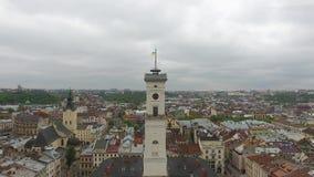 Εναέρια άποψη της πόλης Lviv απόθεμα βίντεο