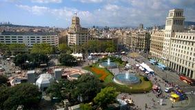 Εναέρια άποψη της πλατείας της Καταλωνίας στη Βαρκελώνη, Ισπανία Στοκ Εικόνα