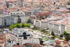 Εναέρια άποψη της πλατείας του Martin Moniz στη Λισσαβώνα από Senhora do Mo Στοκ φωτογραφία με δικαίωμα ελεύθερης χρήσης