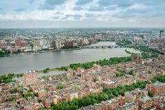 Εναέρια άποψη της στο κέντρο της πόλης Βοστώνης στοκ εικόνα