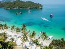 Εναέρια άποψη της τροπικής λιμνοθάλασσας, θαλάσσιο πάρκο Angthong, Ταϊλάνδη Στοκ φωτογραφίες με δικαίωμα ελεύθερης χρήσης