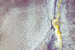 Εναέρια άποψη της υπερρεαλιστικής βιομηχανικής θέσης Ξηρά επιφάνεια Τοπίο Desertic Ανθρώπινος αντίκτυπος στο περιβάλλον E στοκ εικόνες