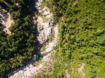 Εναέρια άποψη της φυσικής λίμνης Cavu κοντά σε Tagliu Rossu και Sainte Λ Στοκ εικόνες με δικαίωμα ελεύθερης χρήσης
