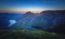 Εναέρια άποψη της φυσικής κοιλάδας στο ηλιοβασίλεμα, βόρεια Ουαλία στο UK στοκ εικόνα με δικαίωμα ελεύθερης χρήσης