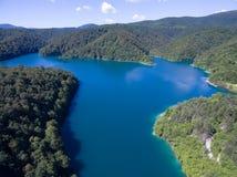 Εναέρια άποψη της όμορφης φύσης στο εθνικό πάρκο λιμνών Plitvice, Κροατία Στοκ φωτογραφίες με δικαίωμα ελεύθερης χρήσης