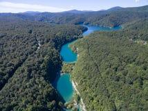 Εναέρια άποψη της όμορφης φύσης στο εθνικό πάρκο λιμνών Plitvice, Κροατία Στοκ Εικόνες