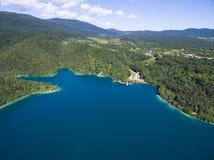 Εναέρια άποψη της όμορφης φύσης στο εθνικό πάρκο λιμνών Plitvice, Κροατία Στοκ Εικόνα