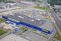 Εναέρια άποψη της Ikea superstore στην Κρακοβία στοκ εικόνες