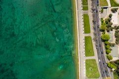 Εναέρια άποψη της leman προκυμαίας λιμνών πόλεων της Γενεύης στην Ελβετία Στοκ Εικόνες