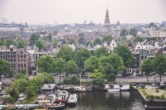 Εναέρια άποψη του Άμστερνταμ, Κάτω Χώρες Στοκ Φωτογραφία