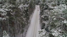 Εναέρια άποψη του αυτοκινήτου που κινείται στο χειμερινό δάσος φιλμ μικρού μήκους