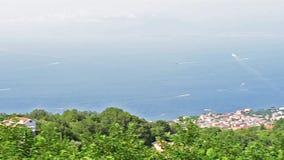 Εναέρια άποψη του Βεζουβίου, κόλπος της Νάπολης, Ιταλία απόθεμα βίντεο
