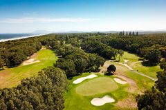 Εναέρια άποψη του γηπέδου του γκολφ Αυστραλία Macquarie λιμένων στοκ εικόνα με δικαίωμα ελεύθερης χρήσης