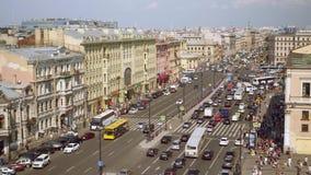 Εναέρια άποψη του για τους πεζούς περάσματος της προοπτικής Ligovsky, σιδηροδρομικός σταθμός της Μόσχας φιλμ μικρού μήκους