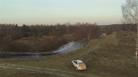 Εναέρια άποψη του δευτερεύοντος τομέα ποταμών χωρών και durty απόθεμα βίντεο