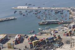 Εναέρια άποψη του θαλάσσιου λιμένα της πόλης Arica, Χιλή Στοκ φωτογραφία με δικαίωμα ελεύθερης χρήσης