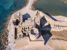 Εναέρια άποψη του κάστρου Aragonese LE Castella, LE Castella, Καλαβρία, Ιταλία Στοκ Εικόνες