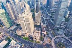 Εναέρια άποψη του κέντρου πόλεων της Σαγκάη στοκ φωτογραφία