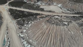 Εναέρια άποψη του λατομείου μεταλλείας Αμμόλοφοι των λατομείων μεταλλείας Εναέρια άποψη 4K απόθεμα βίντεο