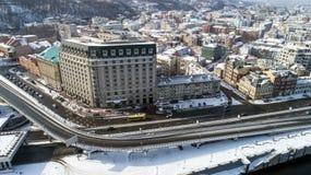 Εναέρια άποψη του λιμένα ποταμών, Podil και ταχυδρομικό τετράγωνο στο Κίεβο, η πρωτεύουσα της Ουκρανίας Στοκ φωτογραφία με δικαίωμα ελεύθερης χρήσης