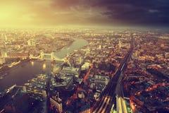 Εναέρια άποψη του Λονδίνου με τη γέφυρα πύργων Στοκ φωτογραφία με δικαίωμα ελεύθερης χρήσης