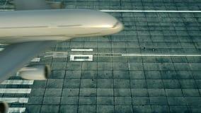 Εναέρια άποψη του μεγάλου αεροπλάνου που φθάνει στον αερολιμένα της Ινδιανάπολης ταξιδεύω στις Ηνωμένες Πολιτείες απόθεμα βίντεο