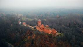 Εναέρια άποψη του μεγαλοπρεπούς αρχαίου μουσείου επιφύλαξης κάστρων Turaidas σε Sigulda, Λετονία, ομιχλώδες πράσινο δασικό τοπίο  απόθεμα βίντεο