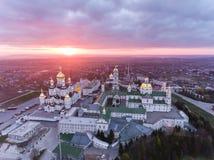 Εναέρια άποψη του μοναστηριού Pochaev, Ορθόδοξη Εκκλησία, Pochayiv Lavra, Ουκρανία Στοκ Εικόνες