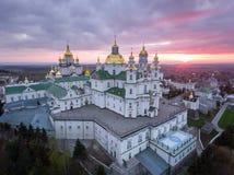 Εναέρια άποψη του μοναστηριού Pochaev, Ορθόδοξη Εκκλησία, Pochayiv Lavra, Ουκρανία Στοκ εικόνα με δικαίωμα ελεύθερης χρήσης