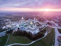 Εναέρια άποψη του μοναστηριού Pochaev, Ορθόδοξη Εκκλησία, Pochayiv Lavra, Ουκρανία Στοκ φωτογραφία με δικαίωμα ελεύθερης χρήσης