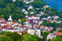 Εναέρια άποψη του Μπέργκεν, Νορβηγία με τα ζωηρόχρωμα σπίτια στοκ φωτογραφίες με δικαίωμα ελεύθερης χρήσης