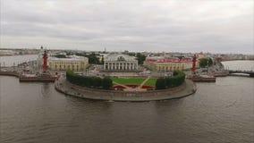 Εναέρια άποψη του νησιού Άγιος-Πετρούπολη Vasilevsky απόθεμα βίντεο
