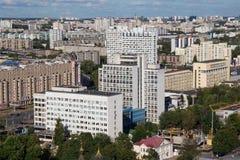 Εναέρια άποψη του νοτιοανατολικού μέρους του Μινσκ με τα παλαιά σοβιετικά κτήρια Στοκ εικόνα με δικαίωμα ελεύθερης χρήσης