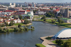 Εναέρια άποψη του νότιου μέρους του Μινσκ με το Hill τριάδας, το τετράγωνο ελευθερίας και τον ποταμό Svislach Στοκ εικόνα με δικαίωμα ελεύθερης χρήσης