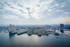 Εναέρια άποψη του ομοσπονδιακού Hill και του εσωτερικού λιμανιού της Βαλτιμόρης, Μ στοκ εικόνες